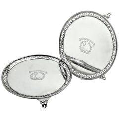Pair of Antique Georgian Sterling Silver Salvers / Trays 1768 George III