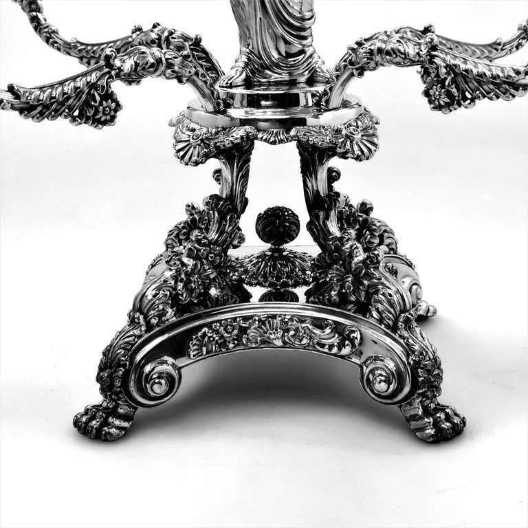 Pair Antique Georgian Sterling Silver Sheffield Plate Epergnes Centrepieces 1824 For Sale 6