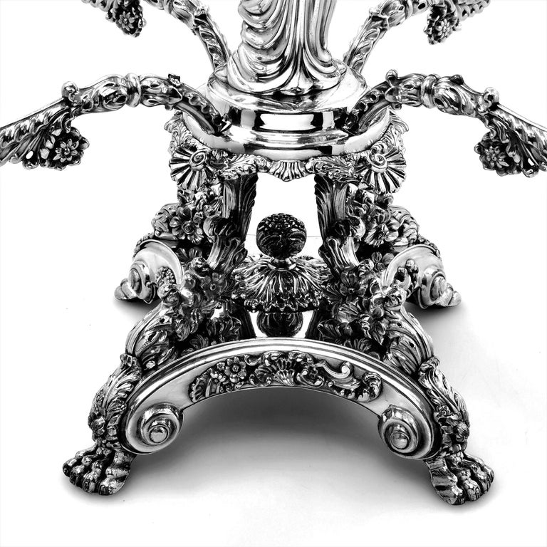 Pair Antique Georgian Sterling Silver Sheffield Plate Epergnes Centrepieces 1824 For Sale 8