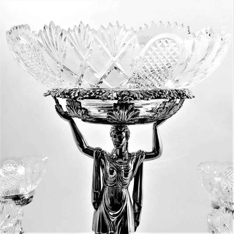 Pair Antique Georgian Sterling Silver Sheffield Plate Epergnes Centrepieces 1824 For Sale 9