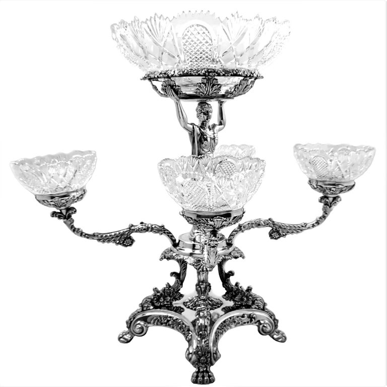 Pair Antique Georgian Sterling Silver Sheffield Plate Epergnes Centrepieces 1824 In Good Condition For Sale In London, GB