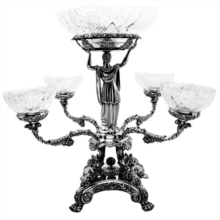 19th Century Pair Antique Georgian Sterling Silver Sheffield Plate Epergnes Centrepieces 1824 For Sale