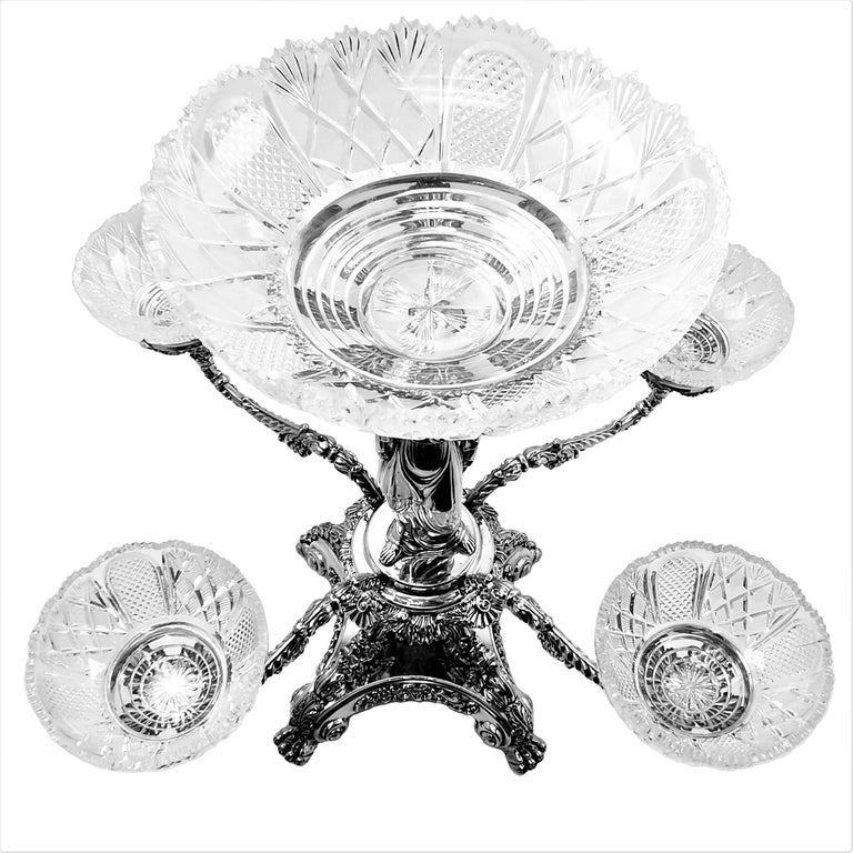 Pair Antique Georgian Sterling Silver Sheffield Plate Epergnes Centrepieces 1824 For Sale 1