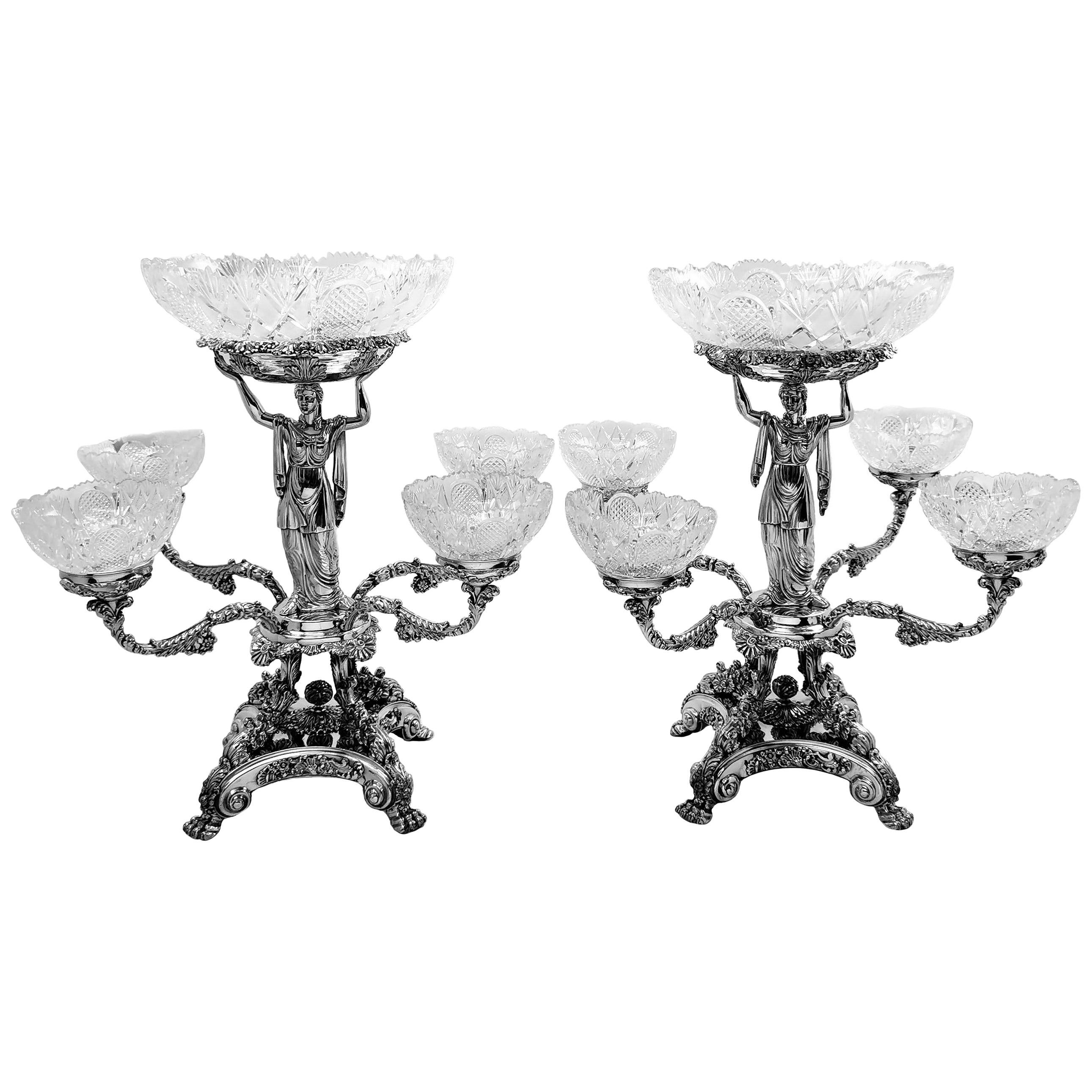 Pair Antique Georgian Sterling Silver Sheffield Plate Epergnes Centrepieces 1824