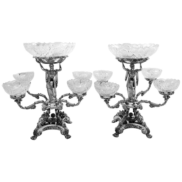 Pair Antique Georgian Sterling Silver Sheffield Plate Epergnes Centrepieces 1824 For Sale