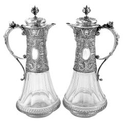 Pair Antique German Silver & Cut Glass Claret Jugs / Wine Decanters, c 1880