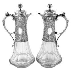 Pair Antique German Silver & Cut Glass Claret Jugs / Wine Decanters, c 1880