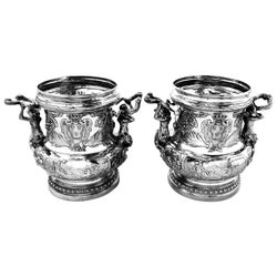 Pair Antique German Silver Wine Champagne Coolers c. 1890 Messonnier Style