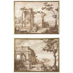 Pair of Antique Grand Framed Gouache Paintings of Roman Ruins