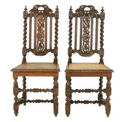 Pair of Antique Hall Chairs, Antique Barley Twist Chairs, Oak, Scotland, 1880