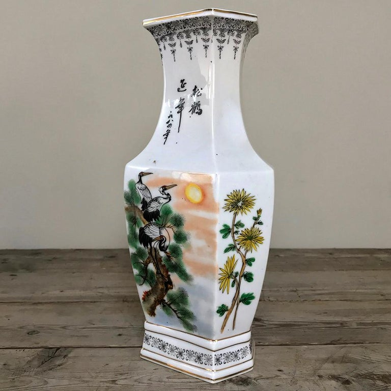 Porcelain Pair of Antique Hand Painted Chinese Vases For Sale