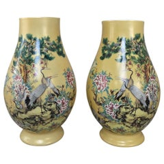 Pair of Antique Hand-Painted Chinese Vases
