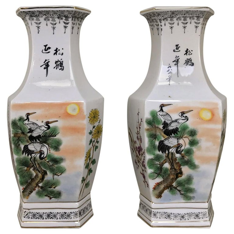 Pair of Antique Hand Painted Chinese Vases For Sale