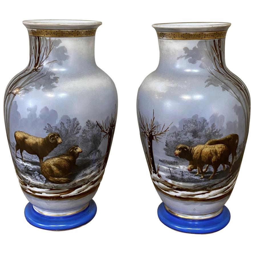 Pair of Antique Hand Painted Opaline Vases