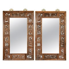 Pair of Antique Hardwood Carved Mirrors with Eight Immortals, Chi-Lun, & Dragon
