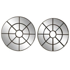 Pair of Antique Industrial Round Iron Mirrors