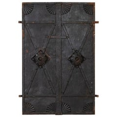 Pair, Antique Iron Doors, Industrial Iron Architectural Elements