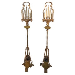 Pair Antique Iron Torchères with Bronze Elephants at Base, Circa 1920's