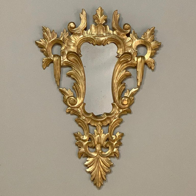 Pair of Antique Italian Baroque Carved Giltwood Mirrors For Sale 6