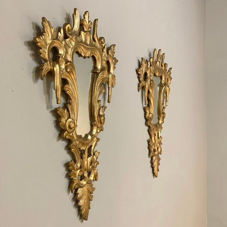 Hand-Carved Pair of Antique Italian Baroque Carved Giltwood Mirrors For Sale