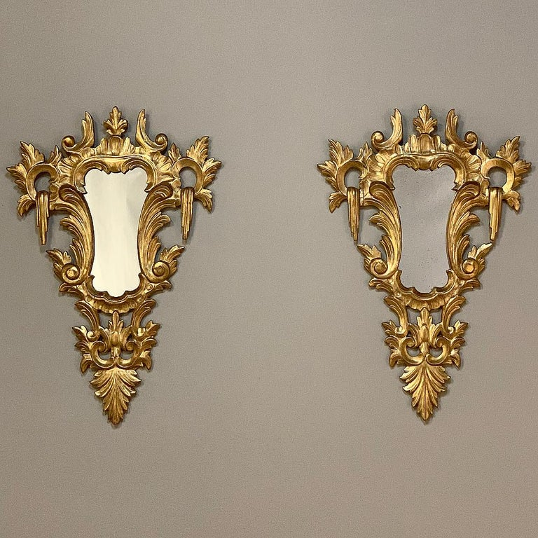 Pair of Antique Italian Baroque Carved Giltwood Mirrors In Good Condition For Sale In Dallas, TX