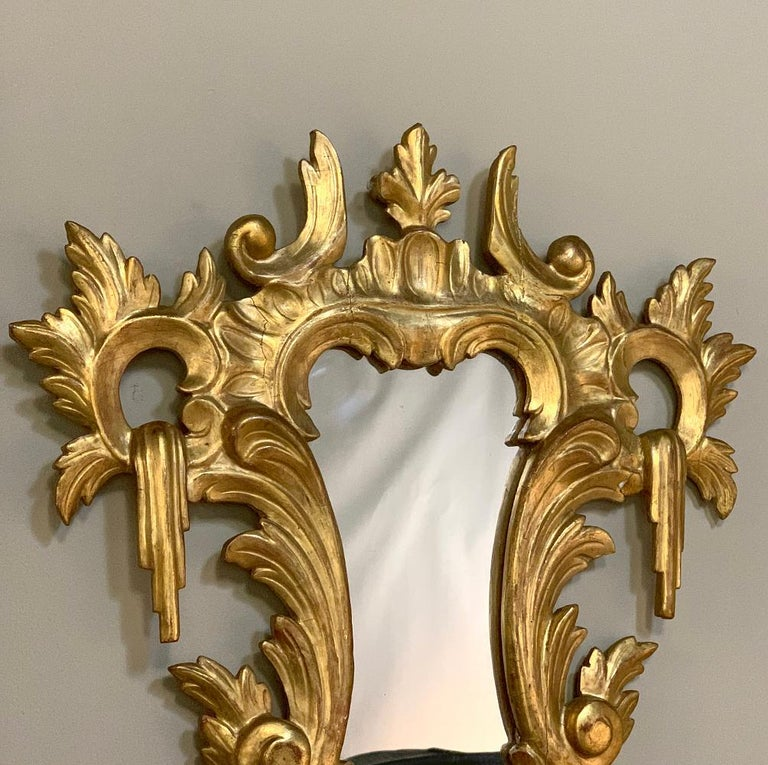 Pair of Antique Italian Baroque Carved Giltwood Mirrors For Sale 2
