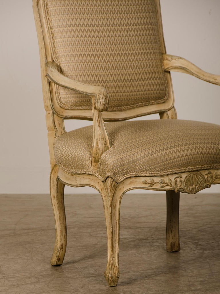 Hand-Painted Pair of Antique Italian Louis XV Period Painted Armchairs, circa 1770 For Sale