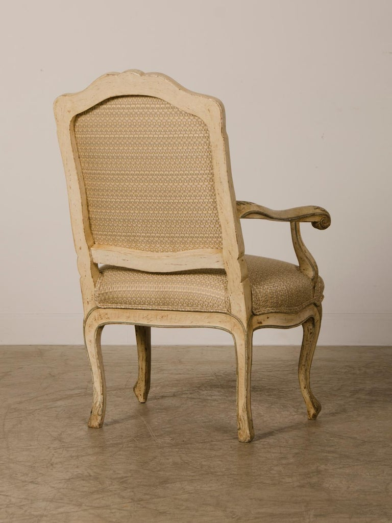 18th Century Pair of Antique Italian Louis XV Period Painted Armchairs, circa 1770 For Sale