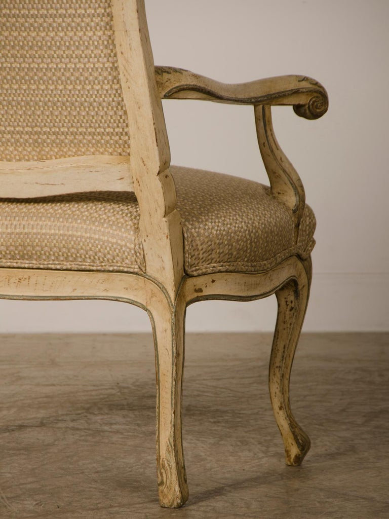 Wood Pair of Antique Italian Louis XV Period Painted Armchairs, circa 1770 For Sale