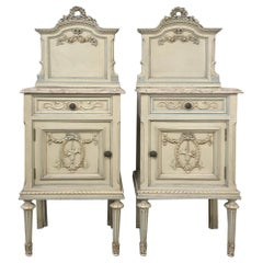 Pair of Antique Italian Louis XVI Painted Nightstands