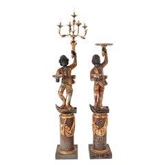 Pair of Antique Italian Venetian Blackamoor Figures Statues Candelabras