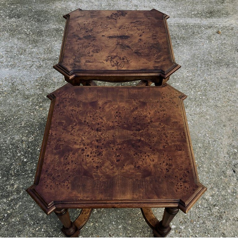 Pair of Antique Italian Walnut End Tables For Sale 5