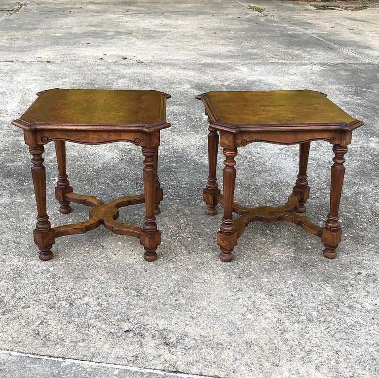 Pair of antique Italian walnut end tables exhibit a wonderful flair with intricately turned legs connected with double lyre stretchers below, and finely molded tops with mitered corners and parquet above!  circa early 1900s  Each measures 23 H x