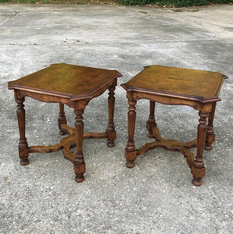 Neoclassical Revival Pair of Antique Italian Walnut End Tables For Sale