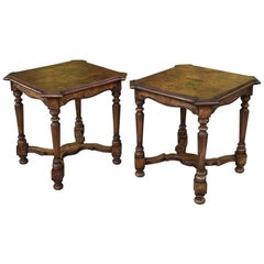 Pair of Antique Italian Walnut End Tables