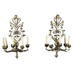 Pair Antique Italian Wrought Iron Painted Electrified Wall Sconces
