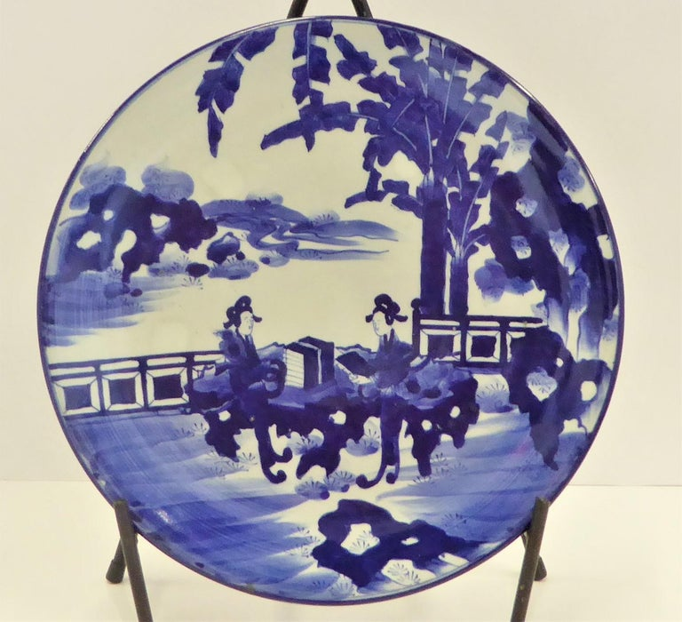 Late 19th Century Pair of Antique Japanese Imari Blue White Chargers with Geishas at Lake Side For Sale