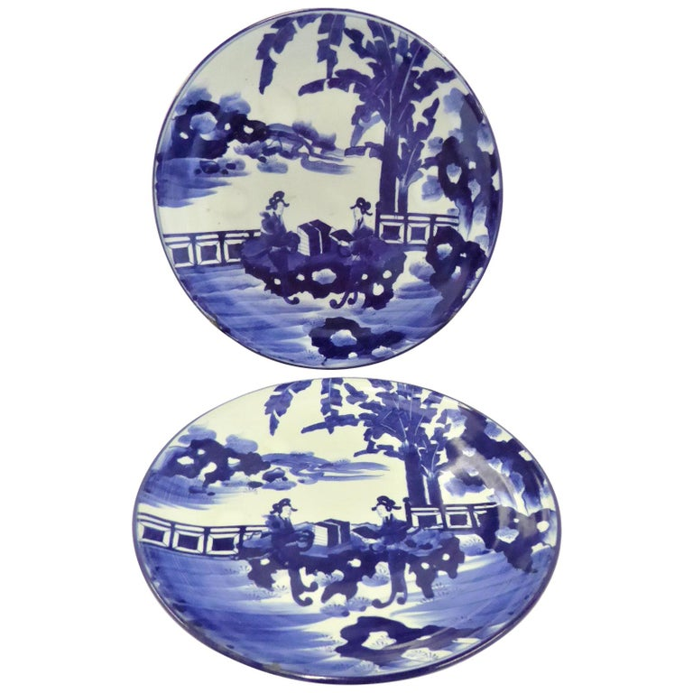 Pair of Antique Japanese Imari Blue White Chargers with Geishas at Lake Side For Sale