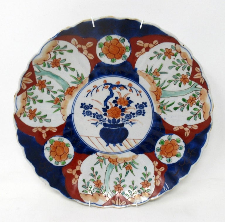 Anglo-Japanese Antique Japanese Meji Hand Painted Imari Dish Centerpiece Plate Cobalt Blue Pair For Sale