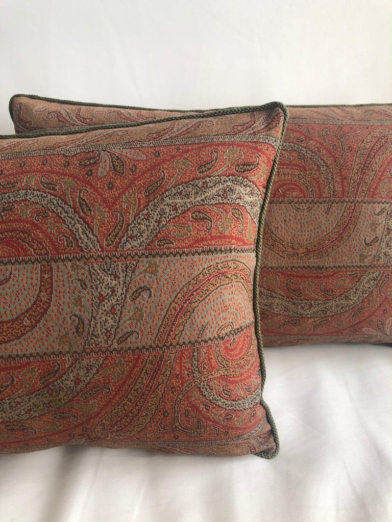 Anglo Raj Pair of Antique Kashmir Paisley Lumbar Decorative Pillows with Green Rope Trim For Sale