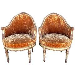 Pair of Antique Louis XVI-Style Painted Bergeres