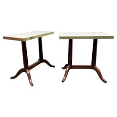 Pair Antique Mahogany and Marble Top Side Tables