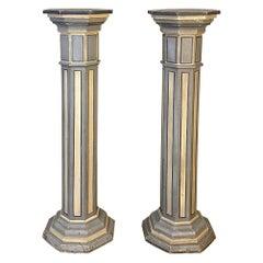 Pair of Antique Neo-Gothic Painted Pedestals