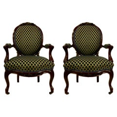 Pair Antique Old Louisiana Rosewood Armchairs, Blue Velvet Upholstery, Ca. 1850