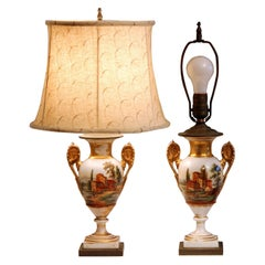 Pair of Old Paris Porcelain French Vases Lamps Country, 19th Century Garniture
