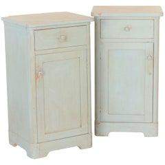 Pair of Antique Original Blue Painted Nightstands