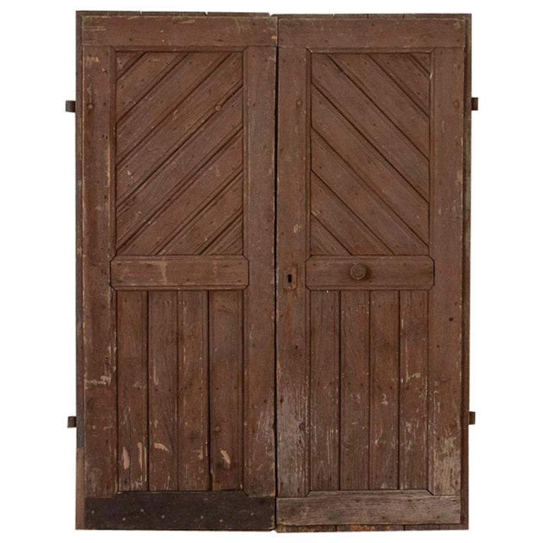Pair of Antique Original Brown Painted Barn Doors, Good for Sliding Doors