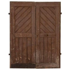 Pair of Antique Original Brown Painted Barn Doors, Good for Sliding Doors