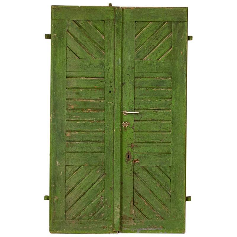 Pair of Antique Original Green Painted Doors Great Sliding Doors