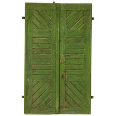 Pair of Antique Original Green Painted Doors Great Sliding Doors